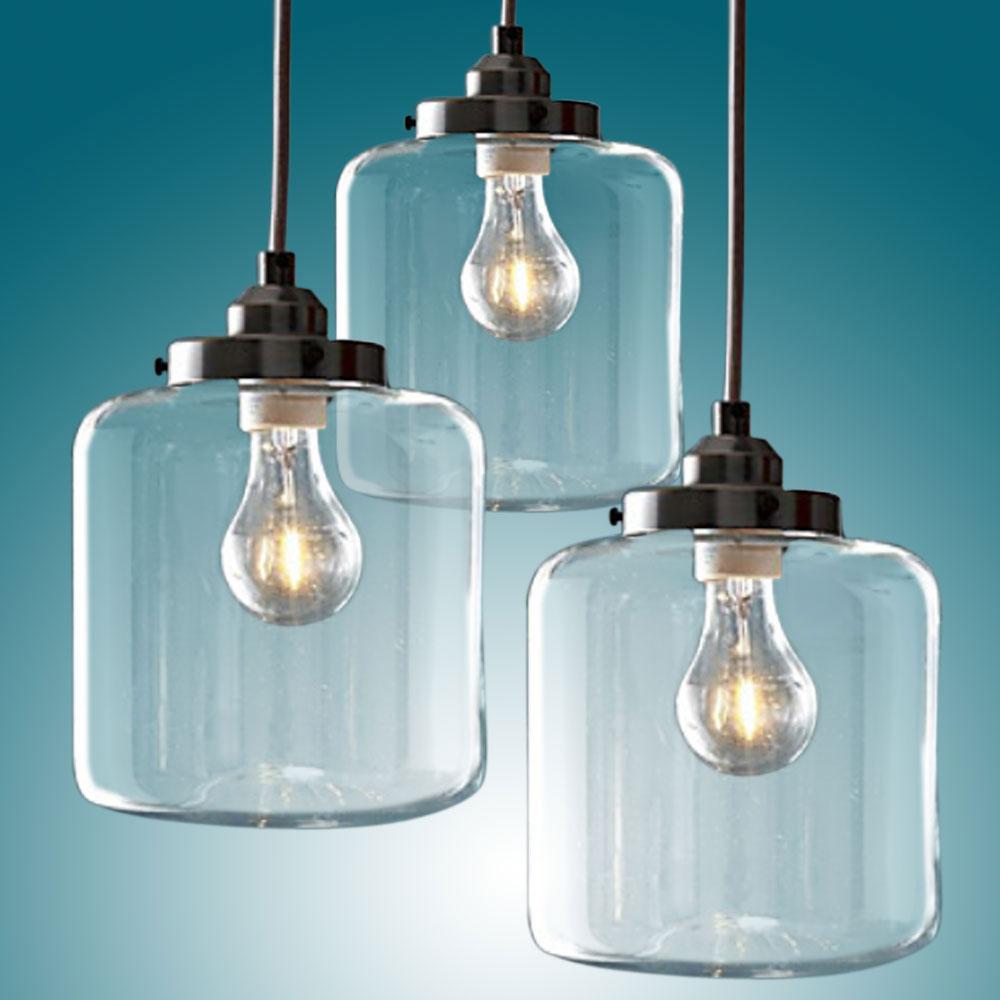 Contury Vintage Pendant Lights Glass Chandeliers 3 Bulb