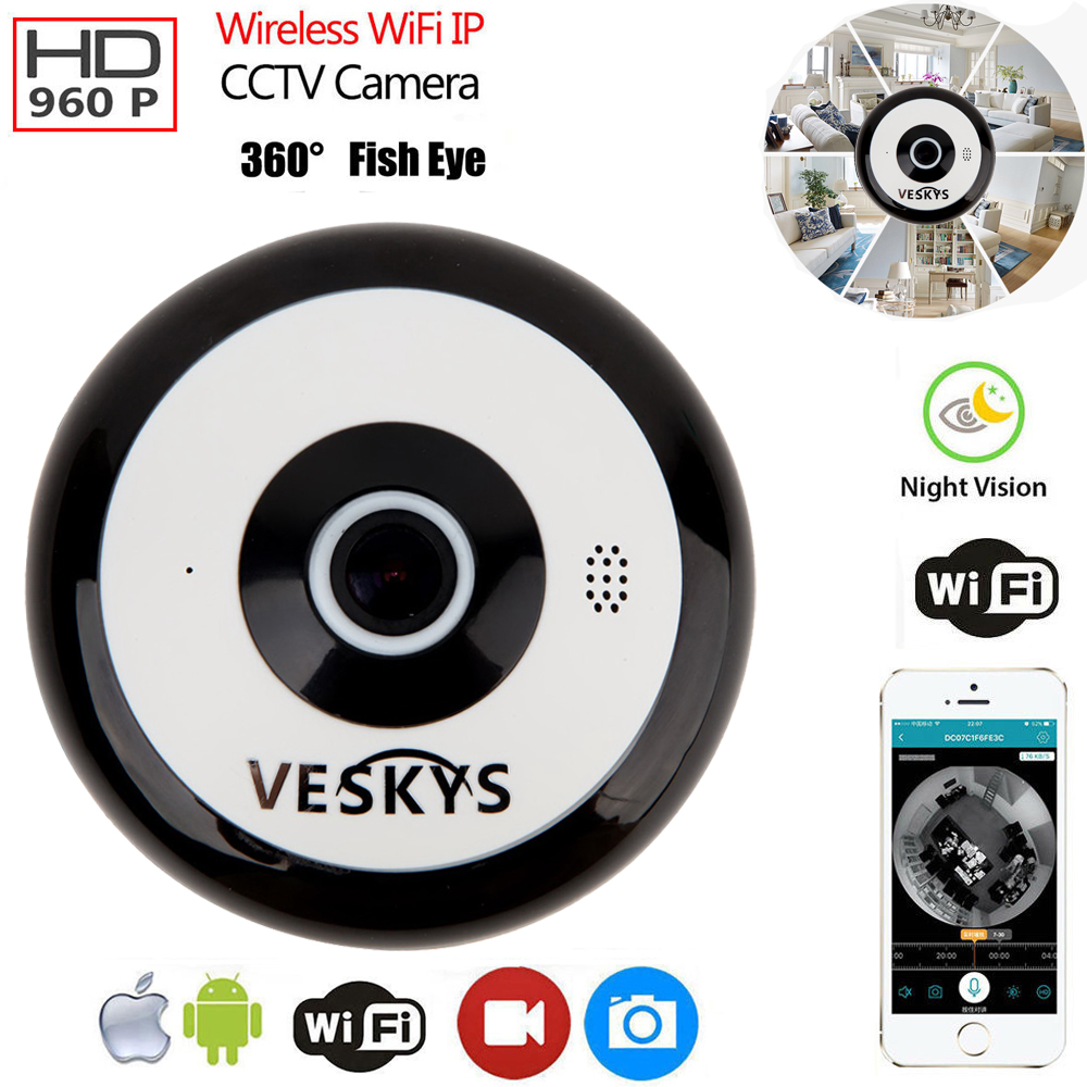 Details about 960P HD Two-Way Audio Fisheye WiFi IP Camera CCTV Security  Cam IR Night Vision