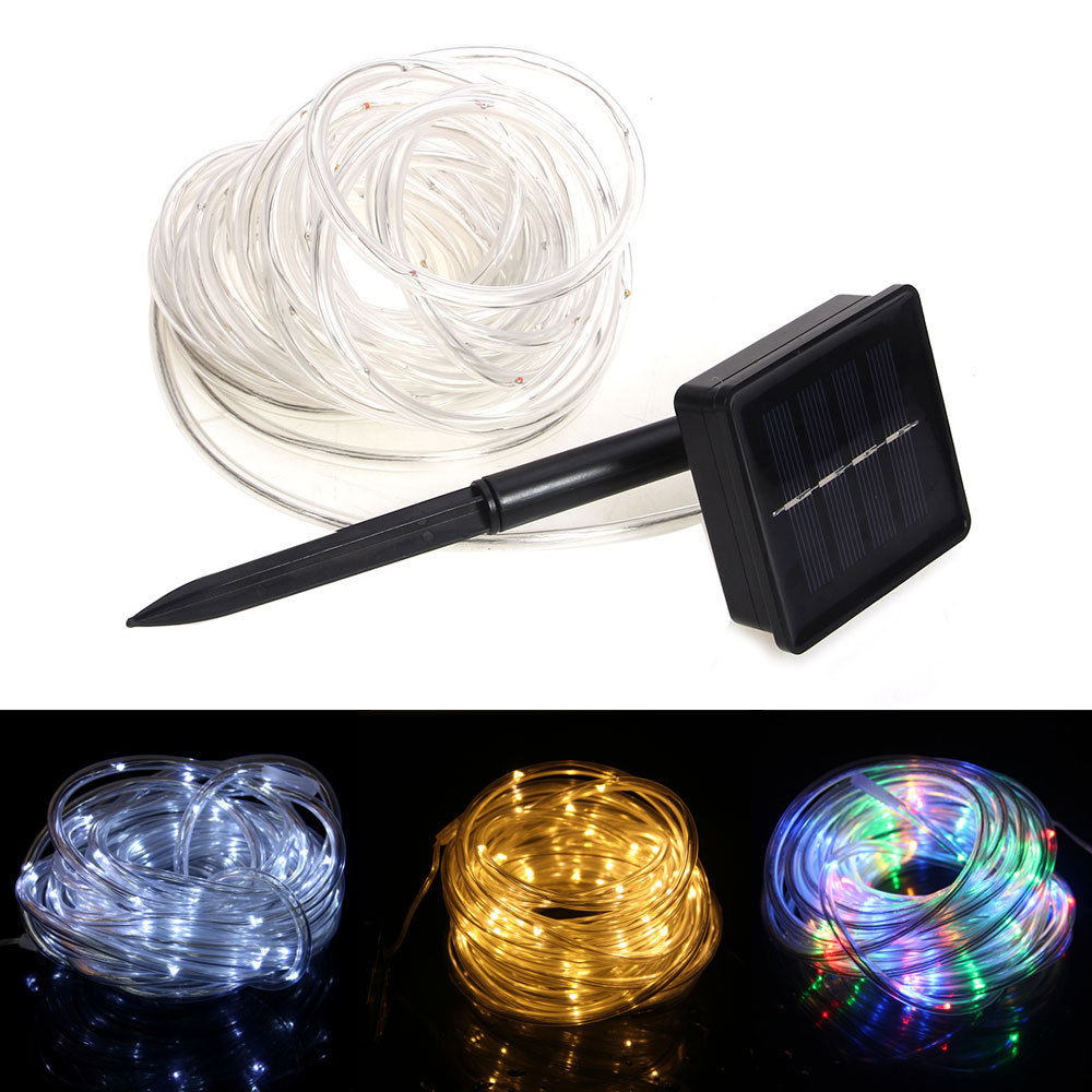 Led Tube String Lights : Solar Powered Rope 100 LED Tube Garden Outdoor Fairy Xmas String Light Tree Lamp eBay