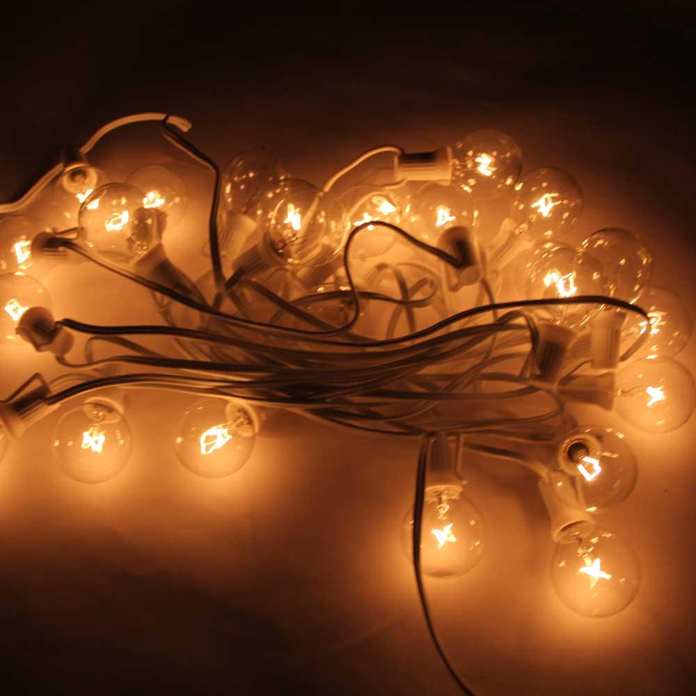 G40 25PCS Clear Bulbs Outdoor Globe Patio Garden Yard String Lights w/ Lamp Wire eBay