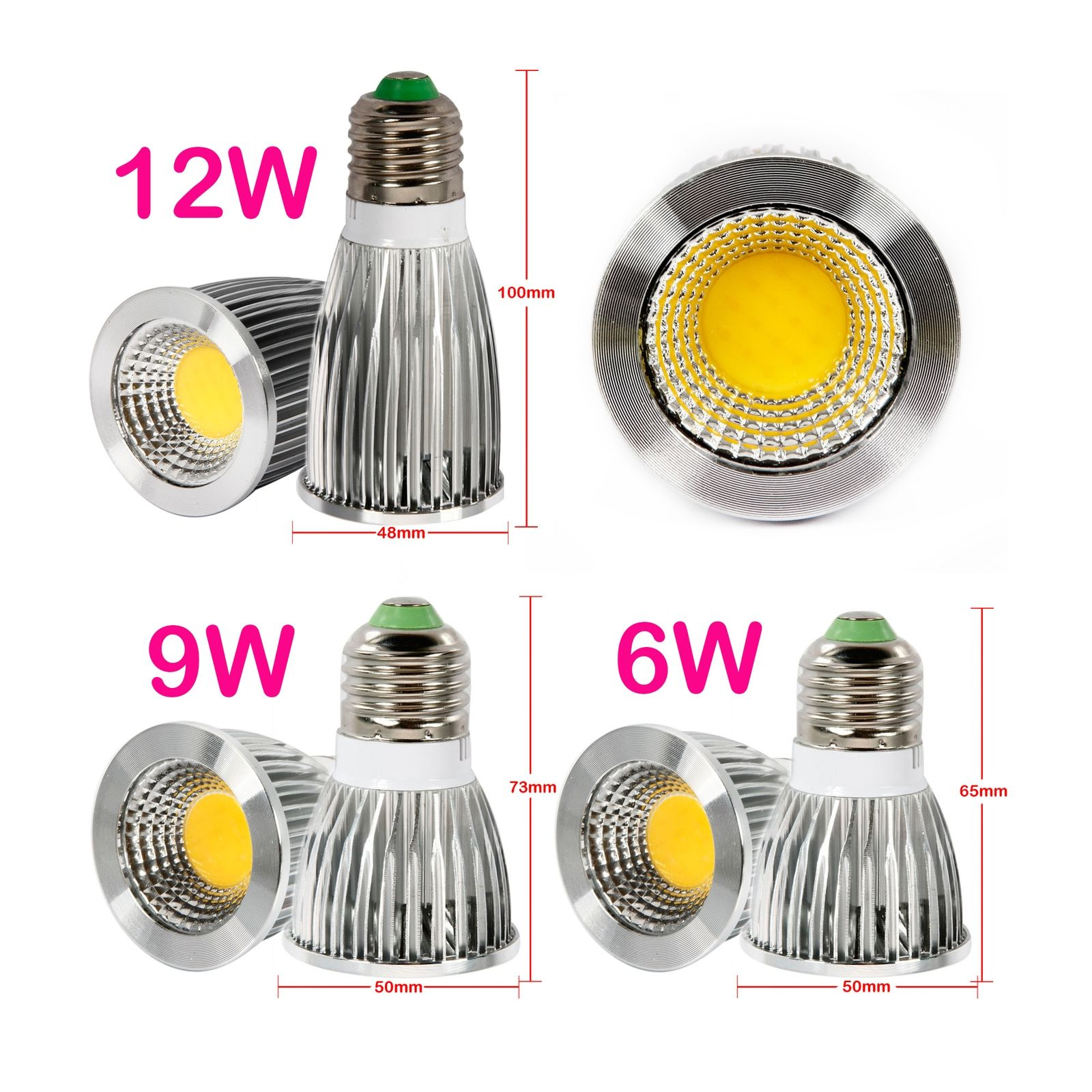 ultra bright 6w 9w 12w mr16 gu10 e27 dimmable led cob spot. Black Bedroom Furniture Sets. Home Design Ideas