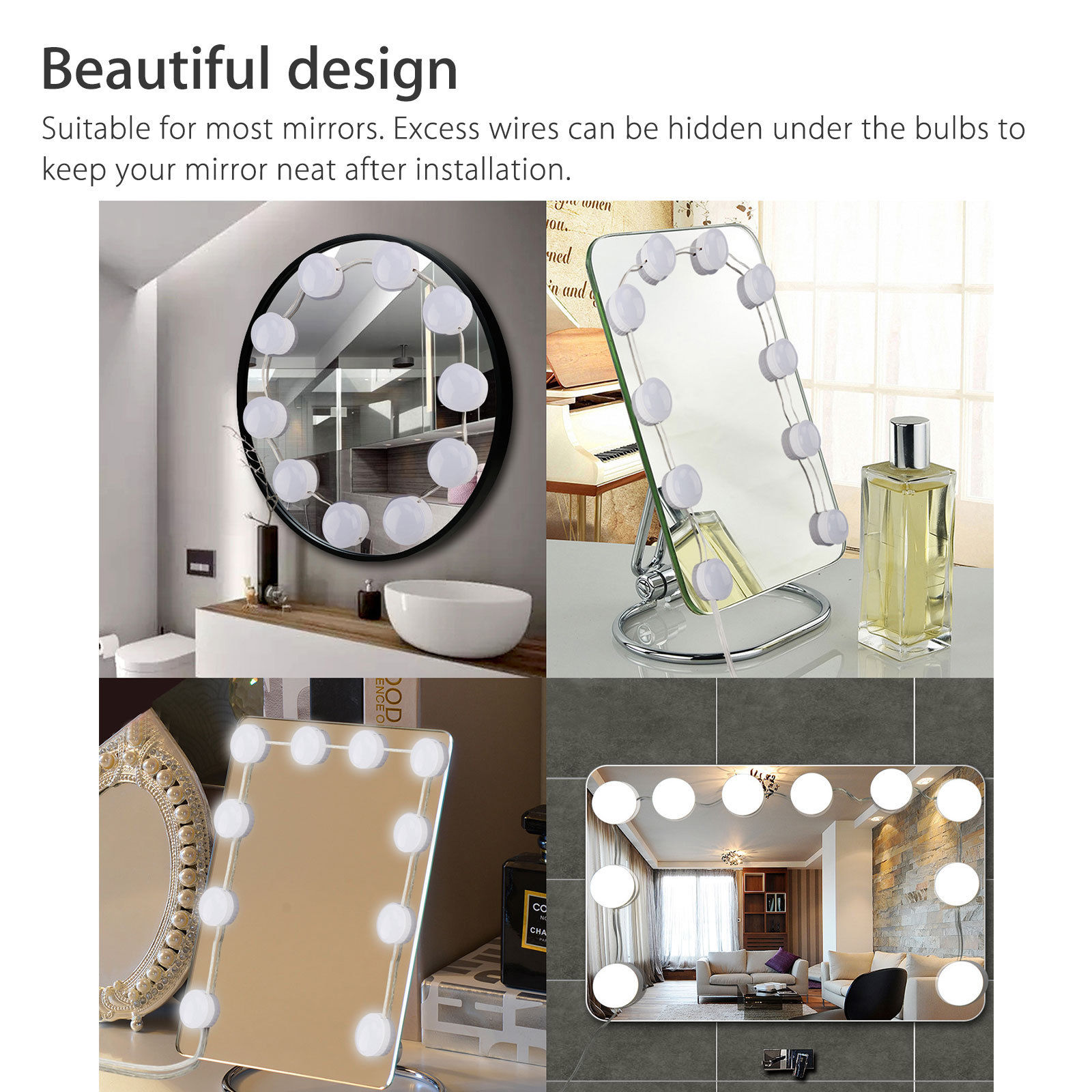 Makeup Mirror Vanity Led Light 10 Bulbs Lamp 3 Color Modes