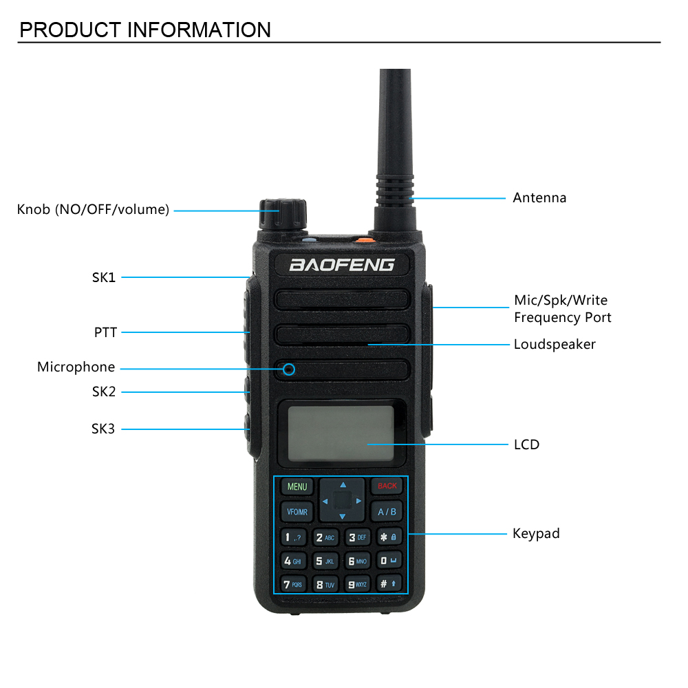 Details about Baofeng DM-1801 Tier II Digital Analog & DMR Two Way Radio +  Programming Cable