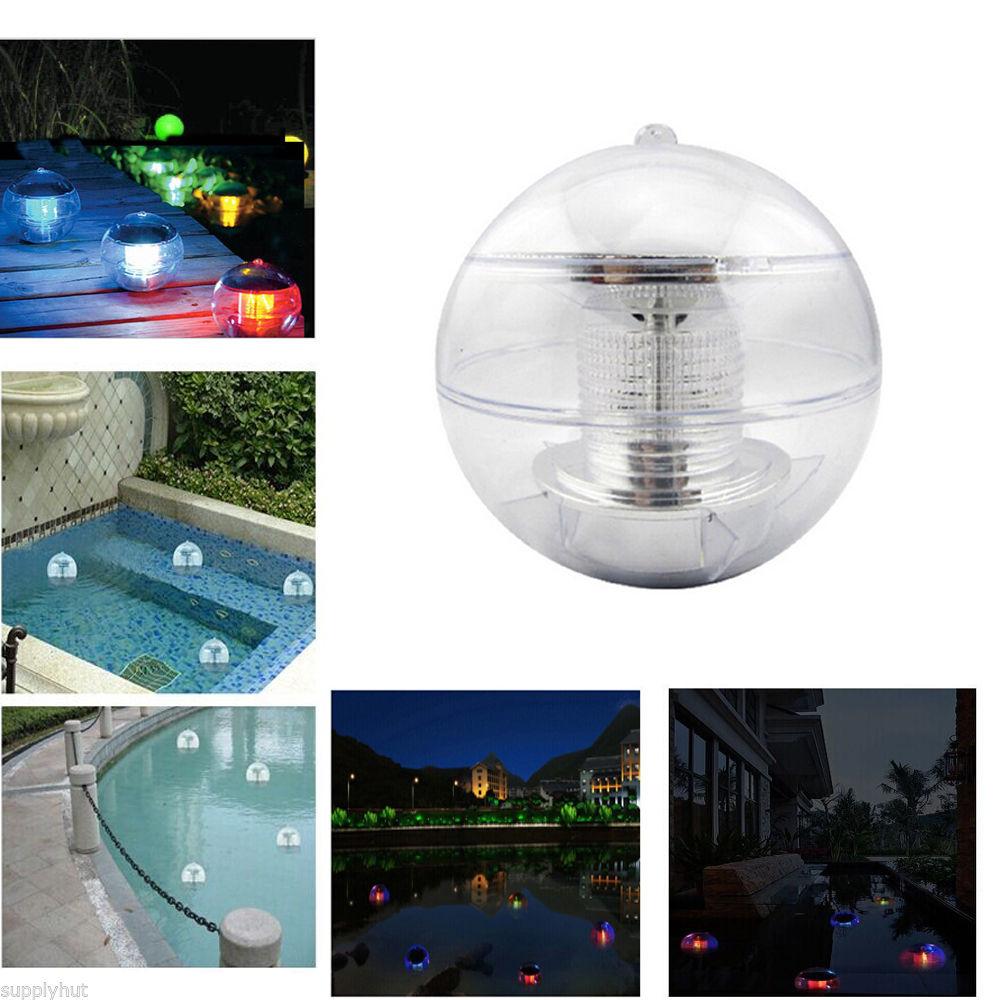 Outdoor solar color changing led floating lights garden for Garden pool lights